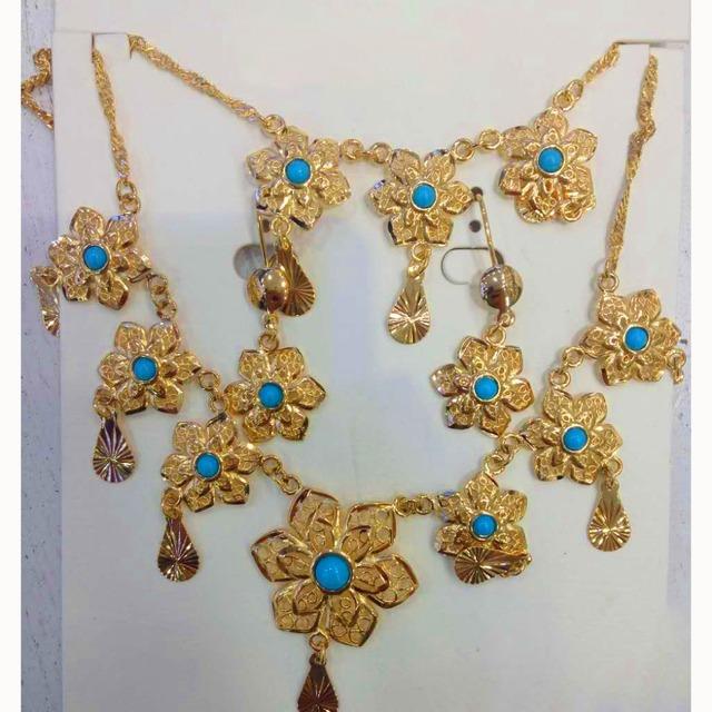 Flower Jewelry Set Necklace Bracelet Earrings Arabic Middle East – Gold Plated Bohemian Wedding Bridal Africa Fashion Set 2016
