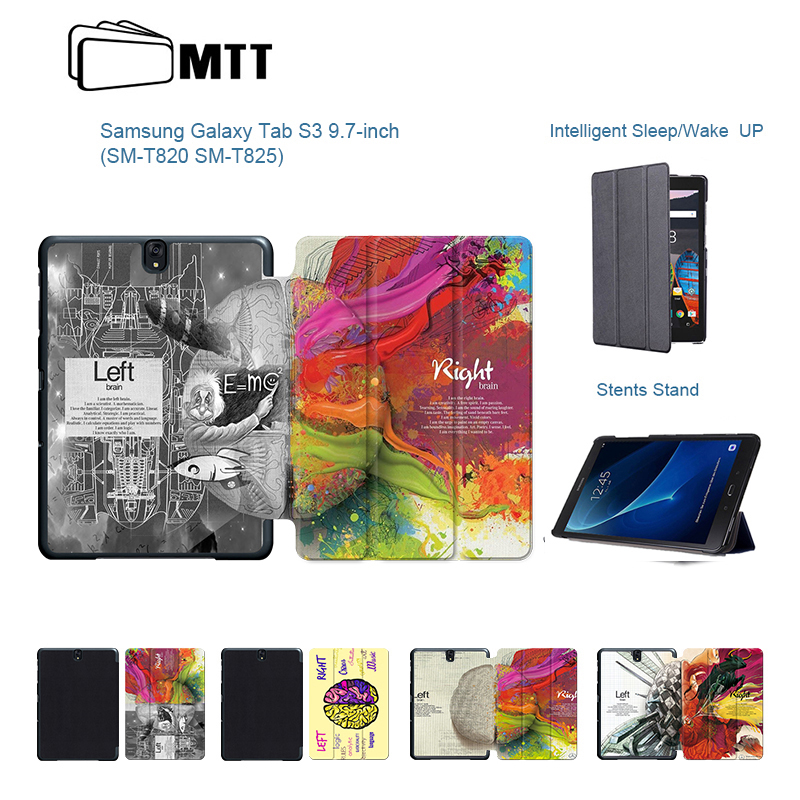 PU Leather Flip Stand Printing Left Right Brain Skin Case For Samsung Galaxy Tab S3 9.7 T820 T825 Cases Cover Funda Tablet Shell