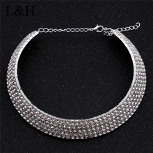 L&H Fashion Luxury Full Crystal Choker Necklace Classic Multi-layer Silver Color Chain For Women Jewelry Drop Shipping