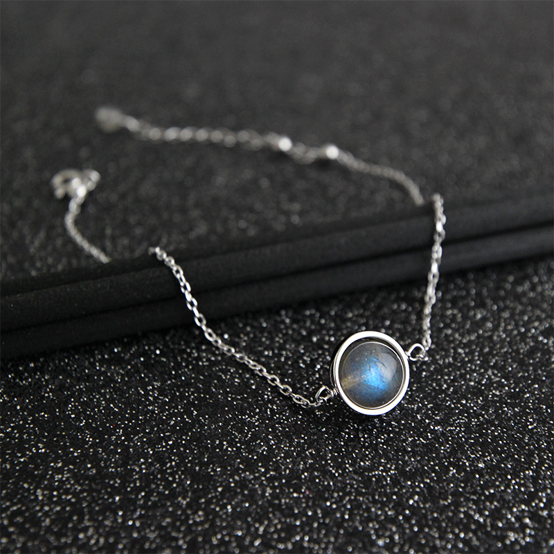 1PC 8MM Authentic 925 Sterling silver Grey Moonstone anklet Bracelet fine jewelry TLS171
