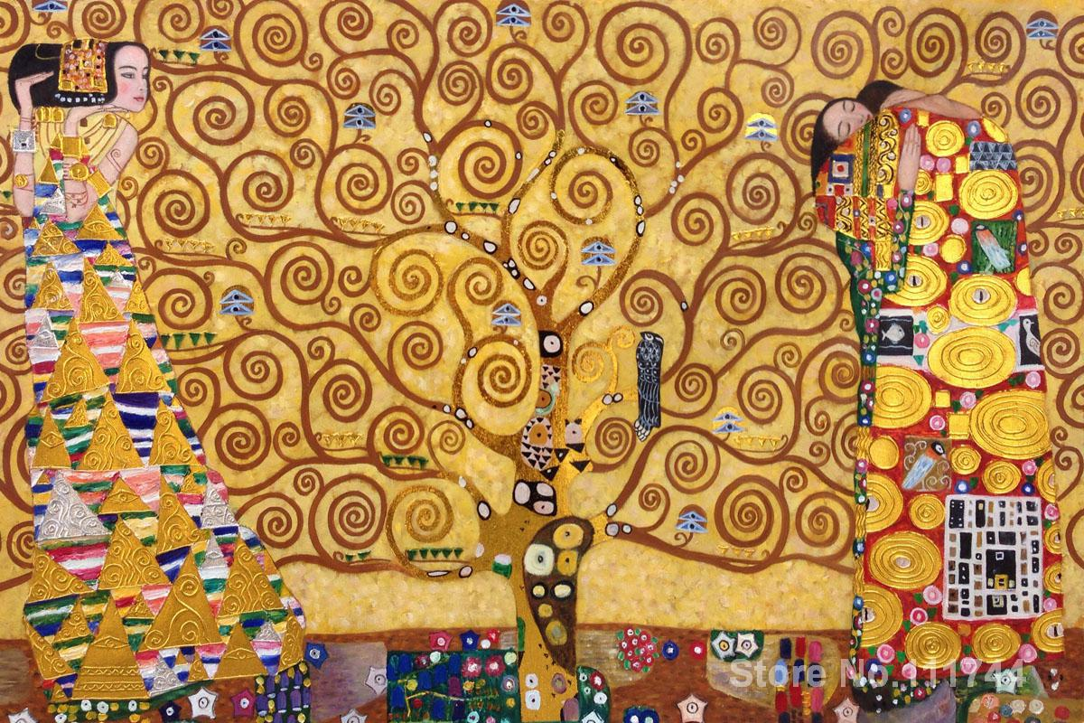 Gold paintings The Tree of Life Stoclet Frieze (Luxury Line) Gustav Klimt art replicas oil on canvas High quality Hand painted