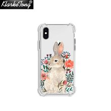 Купить с кэшбэком KlarkeTong Soft Clear Silicone Shockproof Cute Rabbit Floral Phone Cases For iPhone X SE 5 S 7 8 6 6S Plus XS MAX XR Hare Covers