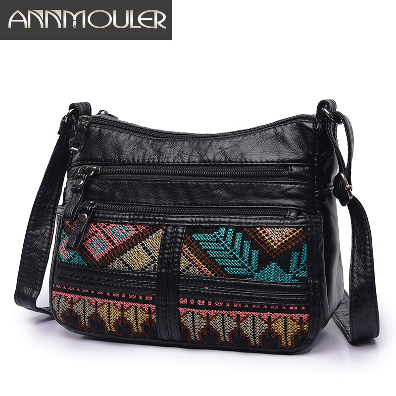 Annmouler Brand Women Crossbody Bag Fashion Soft Shoulder Bag Washed Leather Women Purse Patchwork Small Bag Tribal Flap Bag