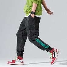 цены на Fashion Streetwear Men's Jogger Jeans Loose Fit Harem Trousers Black Gray Color Youth Punk Style Hip Hop Jeans Men Cargo Pants в интернет-магазинах