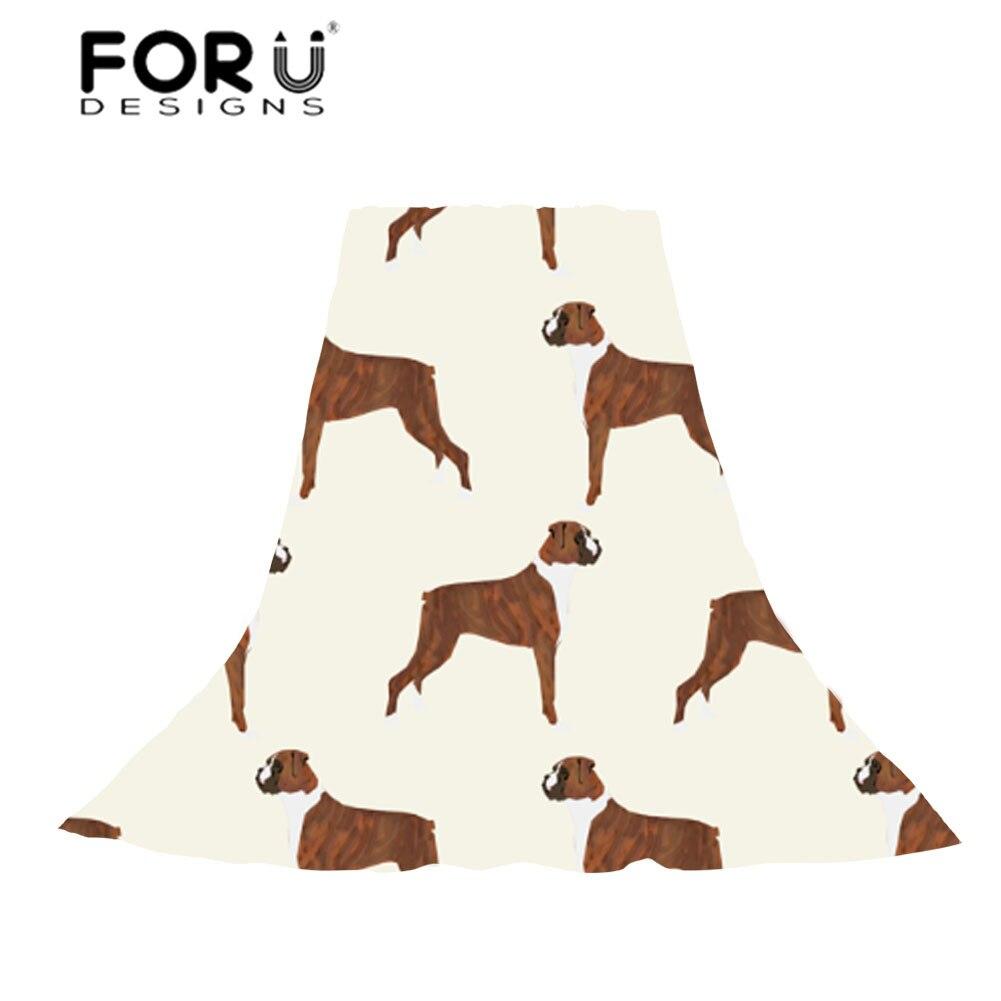 FORUDESIGNS Slik Scarf Women Lovely Boxer Dog Print Wraps Ladies Lignt and Thin Beach Towel for Female Fashion Scarf Travel Gift