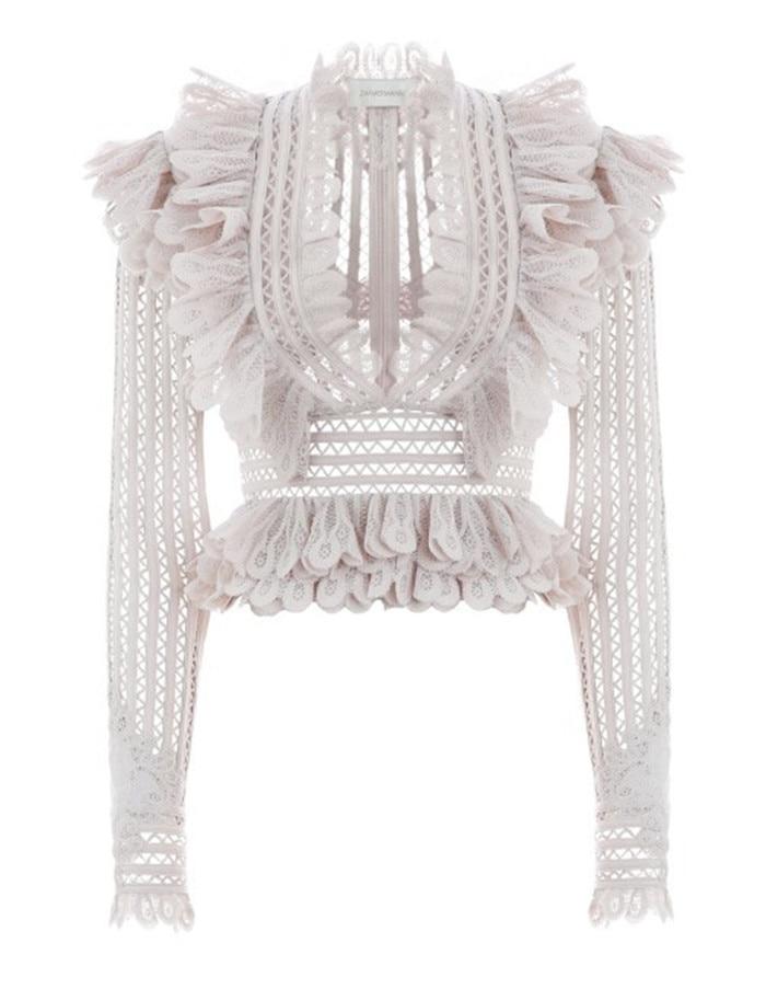 Top À Couture Qualité Creux Feminina Design Blusas V Australie Plissée shirts Col Haute Rose Chemisier Volants T XnWOzxWg