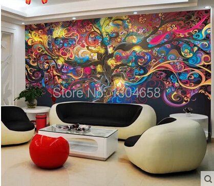 Custom retro wallpaper, 3D wallpaper murals of the tree of life for living room bedroom TV background PVC waterproof wallpaper blue earth cosmic sky zenith living room ceiling murals 3d wallpaper the living room bedroom study paper 3d wallpaper