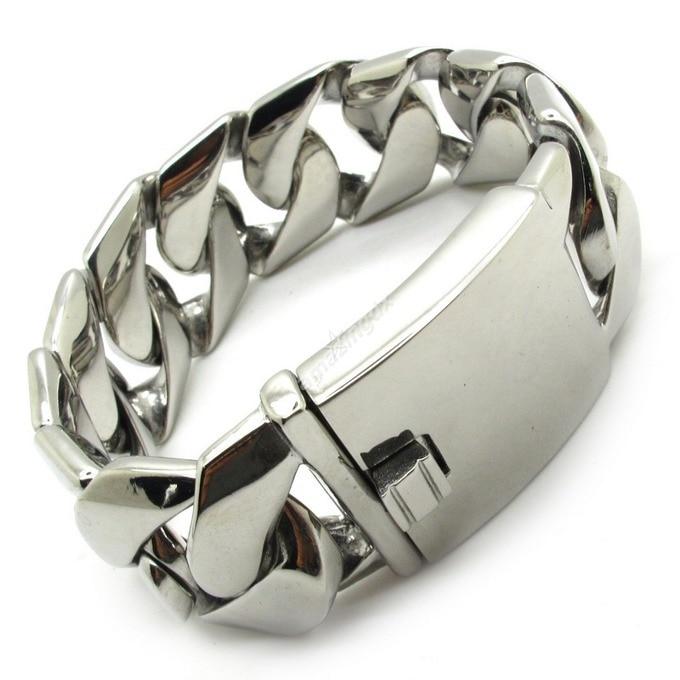 High quanlity Mens/Boys 25mm Huge&Heavy Polish Bracelet Bangles Biker Chain Stainless Steel Bracelets Jewelry Free Shipping 25mm mens boys gold