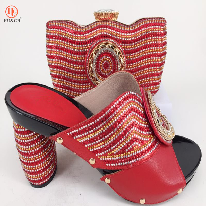 2018 Red Color hot selling purple African shoe and bag set for party Italian shoe with matching bag ladies matching shoe and bag red african wedding shoe and bag sets women shoe and bag to match for parties elegant italian women shoe and bag set