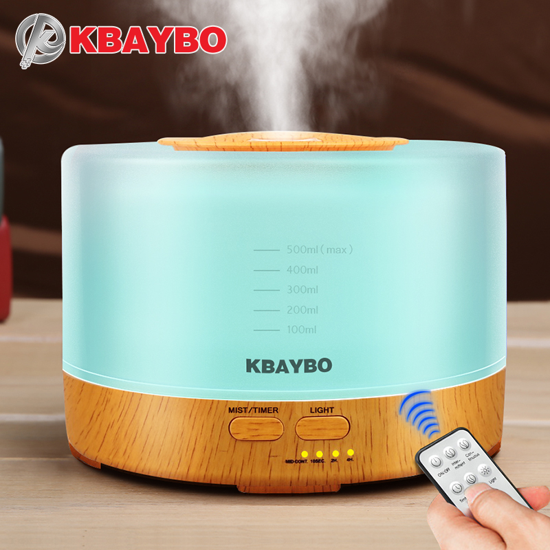KBAYBO 500ml Remote Control Ultrasonic Air Humidifier Wood Grain Essential Oil Diffuser Aromatherapy Mist Maker with Led Light humidifier 500ml wood grain 110v 220v air humidifier colorful led aromatherapy ultrasonic humidifier