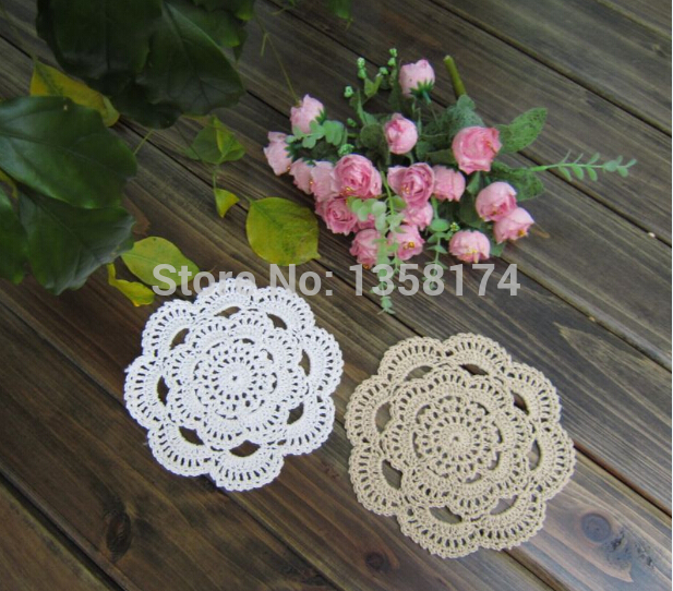 PD035Free shipping Handmade Crochet Coaster 16cm Round flower Lace Doilies Table Place mat cup 24pcs/Lot cotton pads