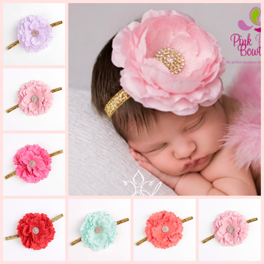 Fashion New Chic Peony Fabric Flower Baby Girl Headband Artificial Flowers Headwear Hair Accessories Newborn Photography props все цены