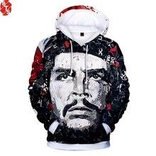 Che Guevara 3D impreso 2018 nueva moda sudaderas con capucha mujeres hombres  de manga larga Casual sudaderas con capucha moda St.. 78278e228e2