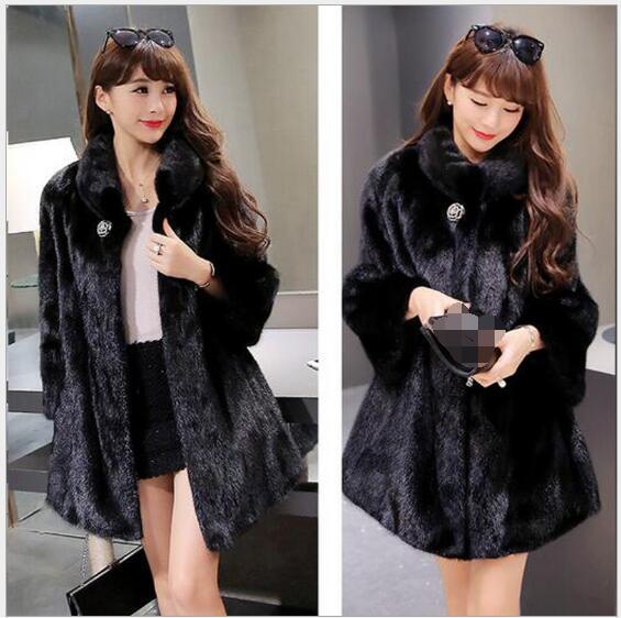 Tempérament Imitation Beige blanc Chapeau noir Avec Manteau Luxe Vison De Nouvelle D'hiver Automne Femmes Fourrure Et Mode 2017 ZqUXaOT