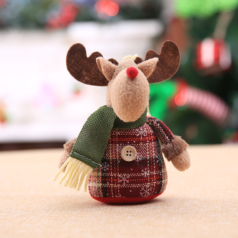2019 Merry Christmas Tree Ornaments Christmas Decorations for Home New Year gift Children Snowflake Elk Plaid Doll Hanging Natal (7)