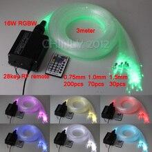 16 Вт RGBW LED Волоконно-оптический Звезда Потолок Комплект Фары 3 М (0.75*200 шт + 1.0*70 шт + 1.5*30 шт) оптическое волокно + 28Key РФ Дистанционного