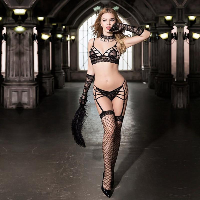 Erotic Lingerie Set Women Super Sexy Underwear Bra And G-string Garter belt Stockings Hot Temptation Sex Cloth For Bedroom