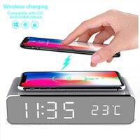 Elektrische LED wekker met telefoon draadloze oplader Desktop digitale thermometer klok HD spiegel klok met Tijd geheugen