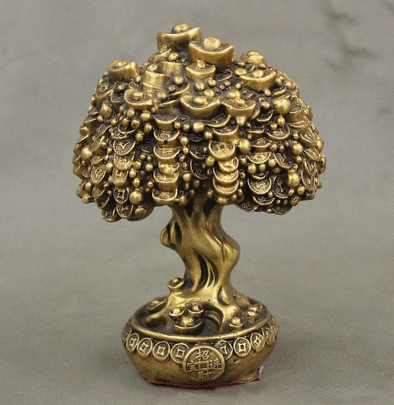 Chinese FengShui Brass Auspicious Wealth YuanBao Treasure Bowl Money Tree StatueChinese FengShui Brass Auspicious Wealth YuanBao Treasure Bowl Money Tree Statue