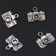10pcs Ancient silver retro camera charm earrings necklaces DIY jewelry alloy pendants findings A337