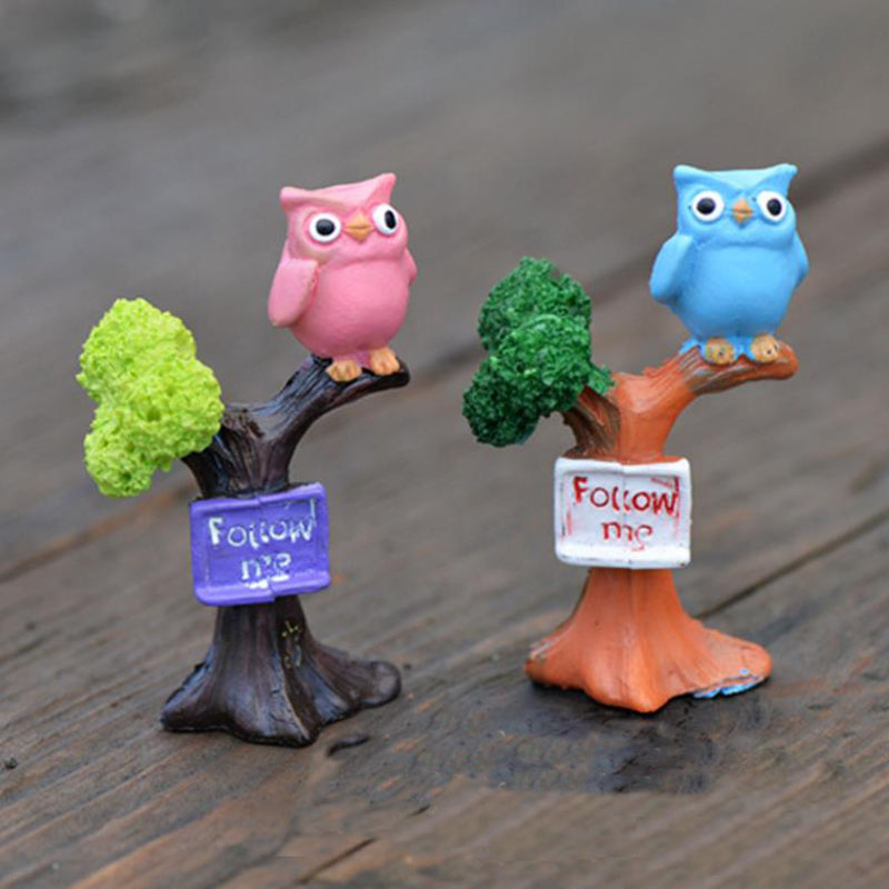 1 Pc cute Branch owl Resin Craft Figurines Miniatures DIY Mini Ornament Doll House Accessories Figure toy gift-0