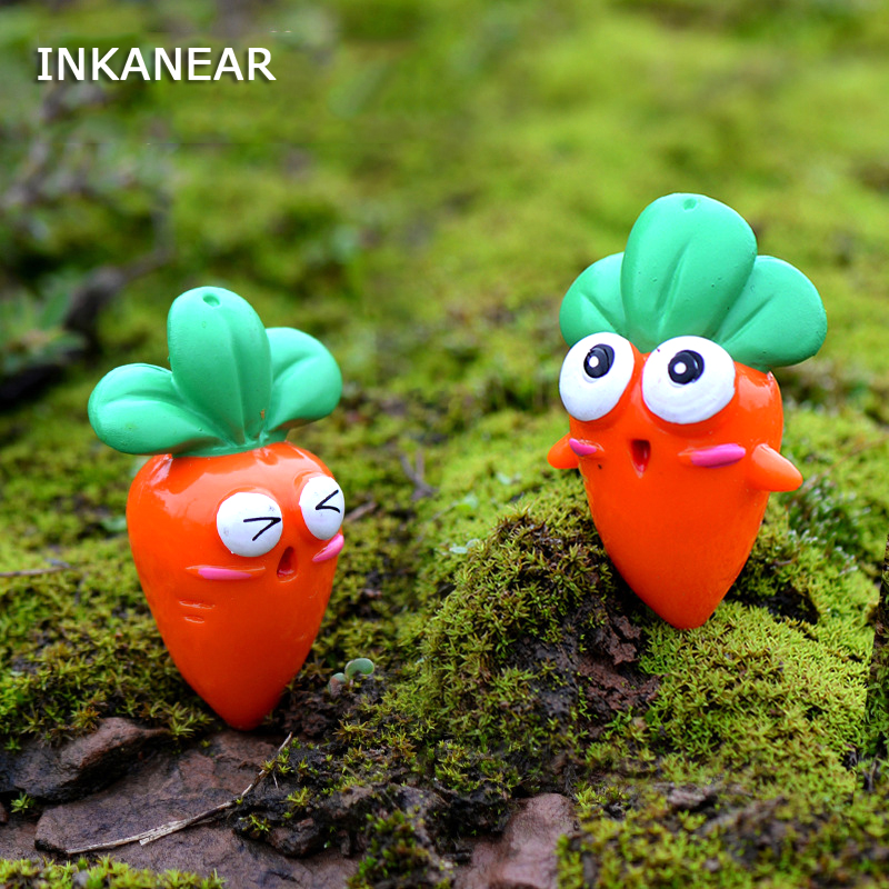 INKANEAR Cartoon Craft Cute Carrot Toys Micro Fairy Garden Furniture Food Miniature/Terrarium/Succulent Ornaments Accessories