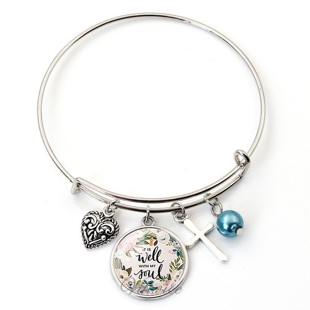 VILLWICE Trendy adjustable wire bangle bracelet handmade art glass charms bangles scripture quote jewelry christian gifts bangle