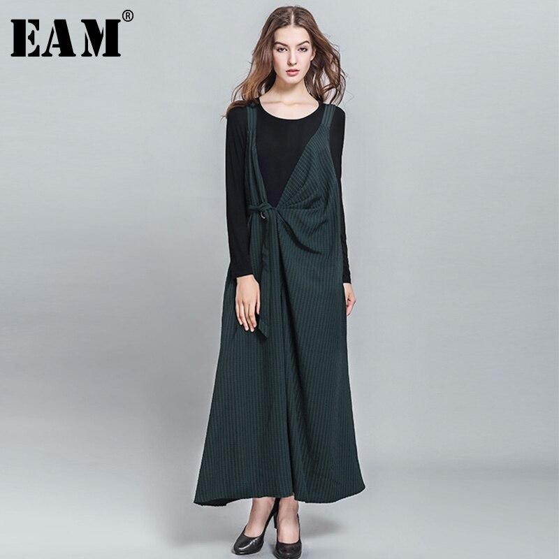 [EAM] 2018 Весна-осень новые модные Черный Полосатый пояса случайные свободные Большие размеры женские ботильоны-длина Комбинезоны RA312