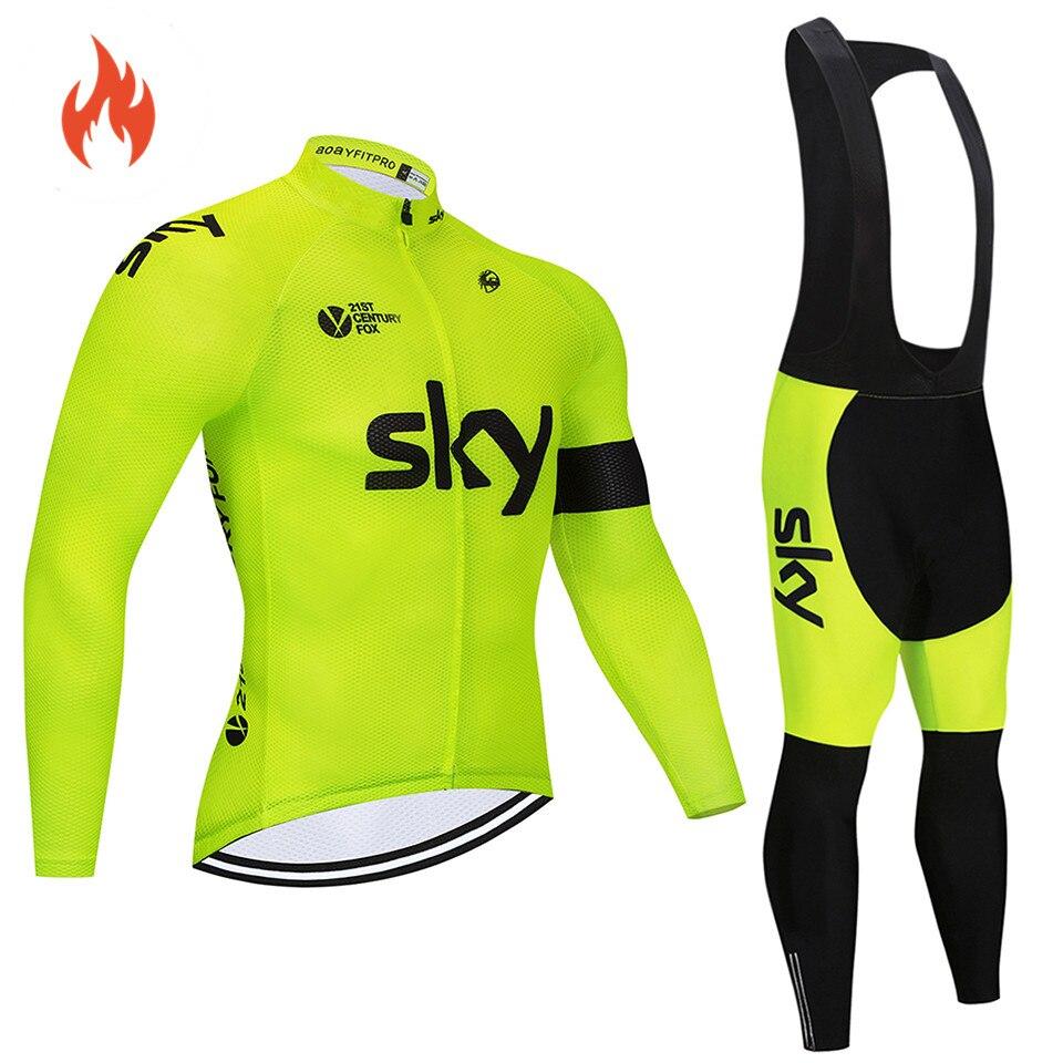 2018 Pro equipo Invierno Polar térmico ciclismo jersey conjunto abbigliamento ciclismo invernale bicicleta ropa MTB bicicleta jersey top cielo