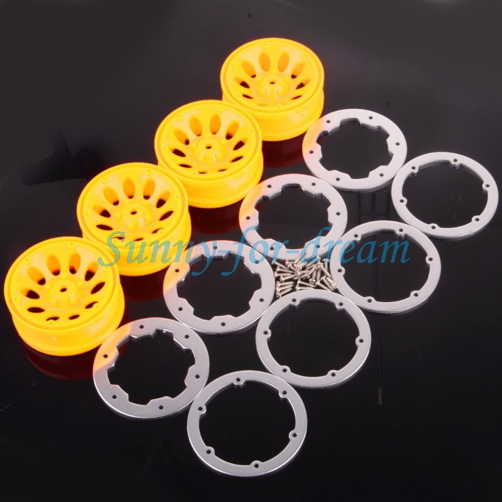 Remote Control Toys The Best New Enron Rc 1/10 Combined Rock Crawler Beadlock 4039 Wheel Rim Yellow-silver Scx10 Hsp Good For Antipyretic And Throat Soother