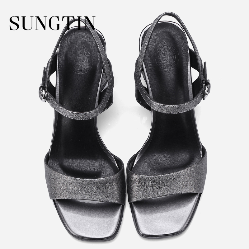 Sungtin Sexy Ankle Strap Block Heel Sandals Women Fashion Bling Open Toe  High Heels Lady Summer Slingback Sandals Large Size 42-in High Heels from  Shoes on ... 37397bb9253a