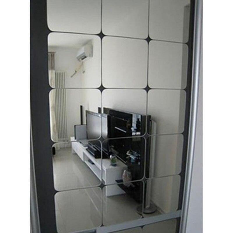 Новое поступление Высокое качество 6 шт. квадратное зеркало плитка Наклейки на стену 3D этикета мозаики украшения дома номер DIY для Гостиная ...
