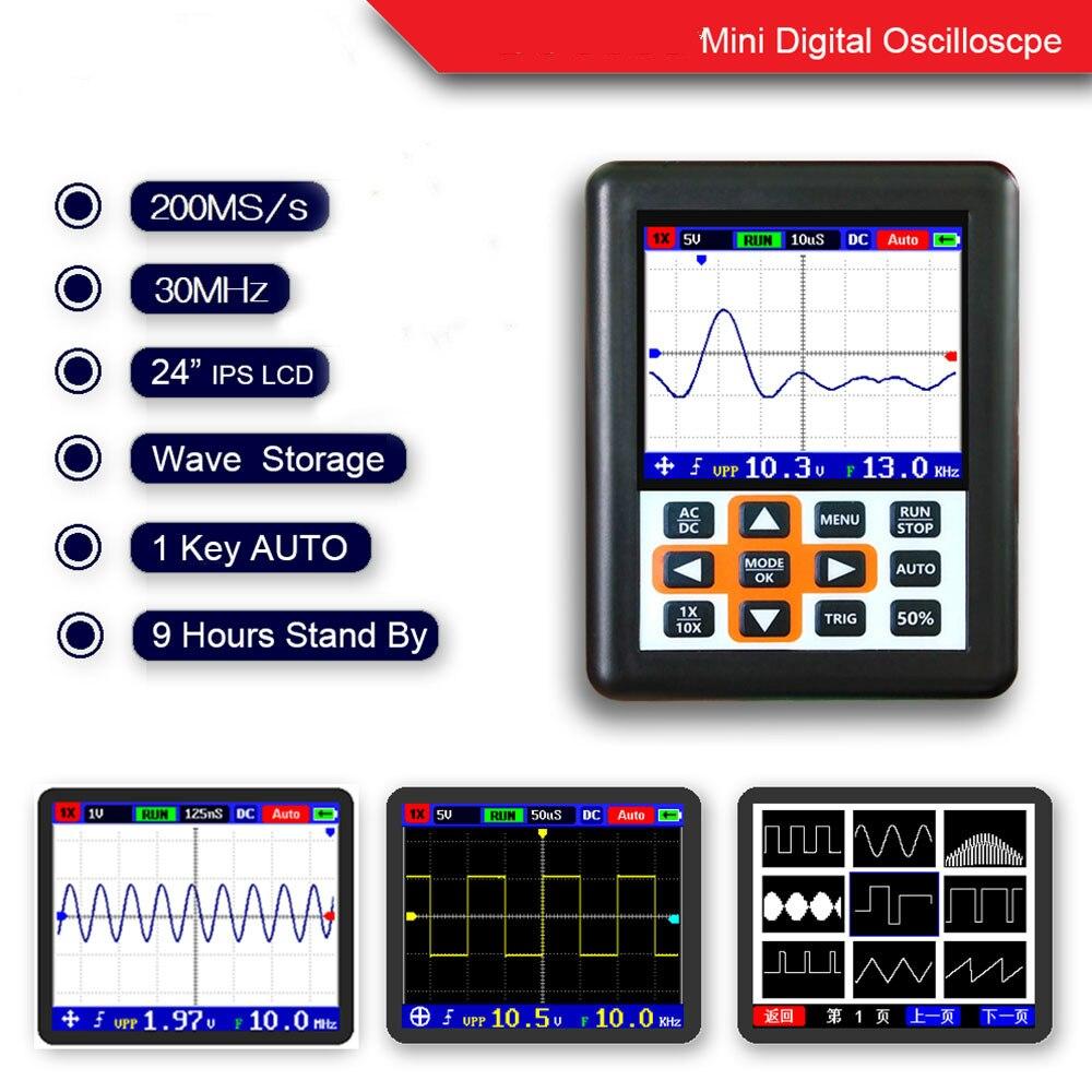 Instrument de mesure outil de poche mini portable numérique oscilloscope 30 m bande passante 200 20msps échantillonnage appareil de réparation de voiture
