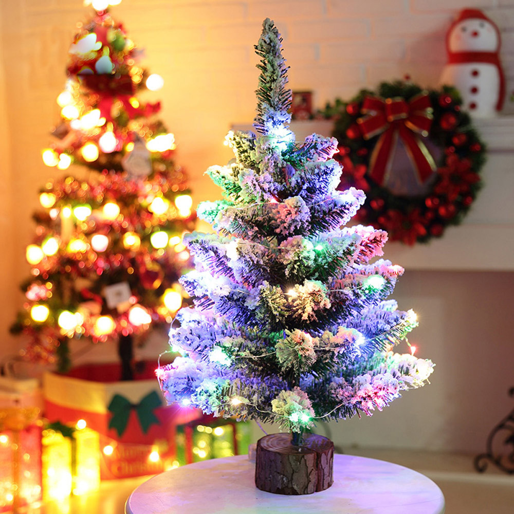 Small Artificial Christmas Trees With Led Lights - 50cm artificial flocking snow christmas tree led multicolor lights holiday window decorations new year christmas home