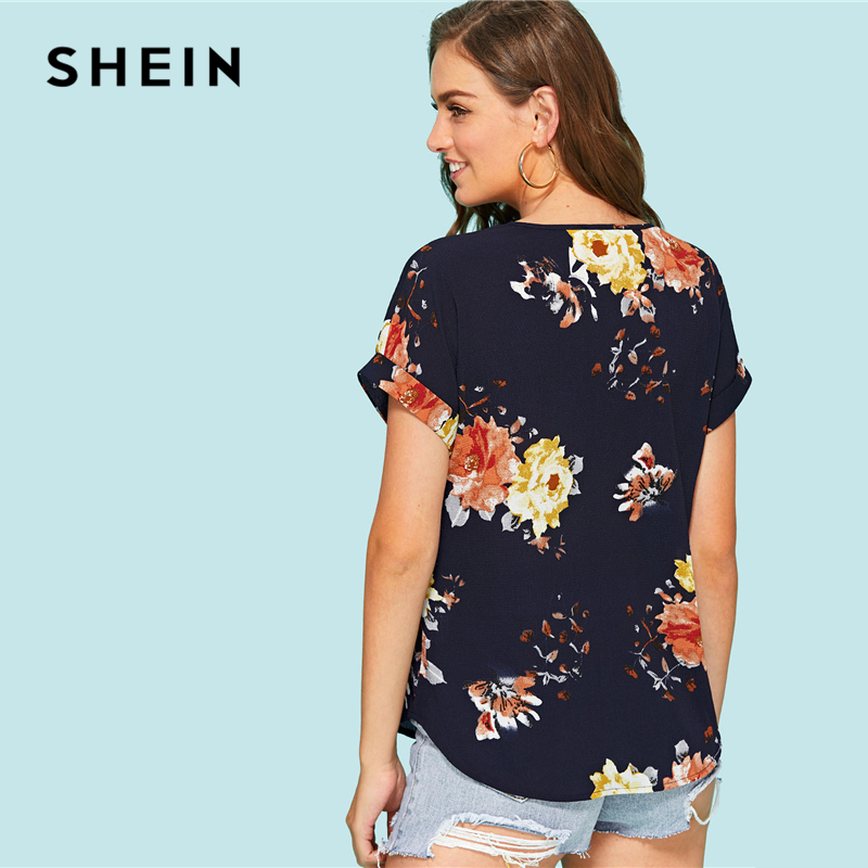 043fac0e18 SHEIN Roll Up Sleeve Floral Top 2018 Summer Short Roll Up Sleeve V Neck Cool  Blouse Clothing Woman Flower Print Vacation Blouse-in Blouses & Shirts from  ...