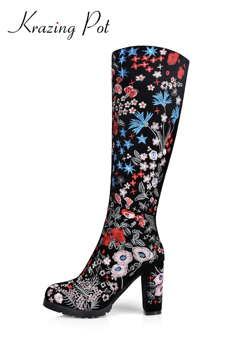 2017 New fashion brand winter shoes big size embroidery flower round toe high heel women knee-high boots lady motorcycle boots L enmayer green vintage knight boots for women new big size round toe flock knee high boots square heel fashion winter motorcycle