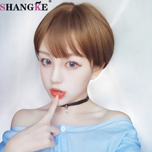 Free Shipping cosplay wig Short Straight Bobo Hair Wigs Heat Resistant Synthetic  Dark  Blonde  for  Women Wigs