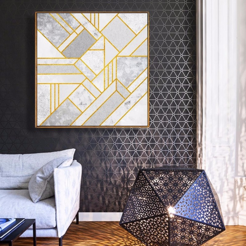 Modern Abstract Geometric Canvas Painting Grey Gold Red Nordic Posters Wall Art Picture Living Room Home Decor Unframed Drop Shipping in Painting & Calligraphy In 2019 - Amazing geometric wall designs with paint Inspirational
