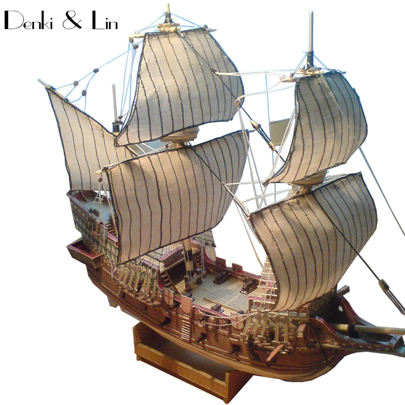 1:100 3D England Golden Hind Galleon Ship Boat Paper Model Assemble Hand Work Puzzle Game DIY Kids Toy Denki & Lin