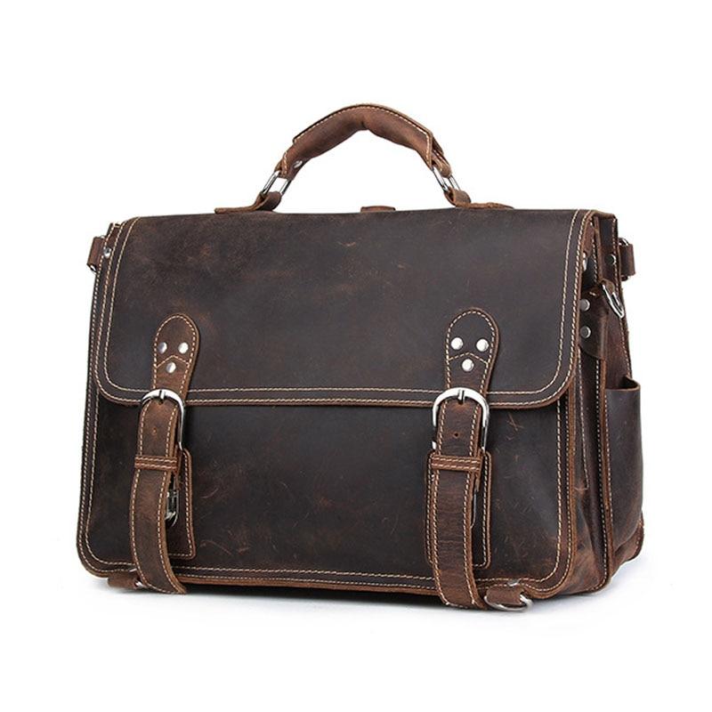 Schulter Taschen Business Boleke Messenger Laptop Männer Crazy Aktentasche Echtes Umhängetasche Grau Dunkles Handtasche camel Tasche Horse Leder wvCqwHTnxP