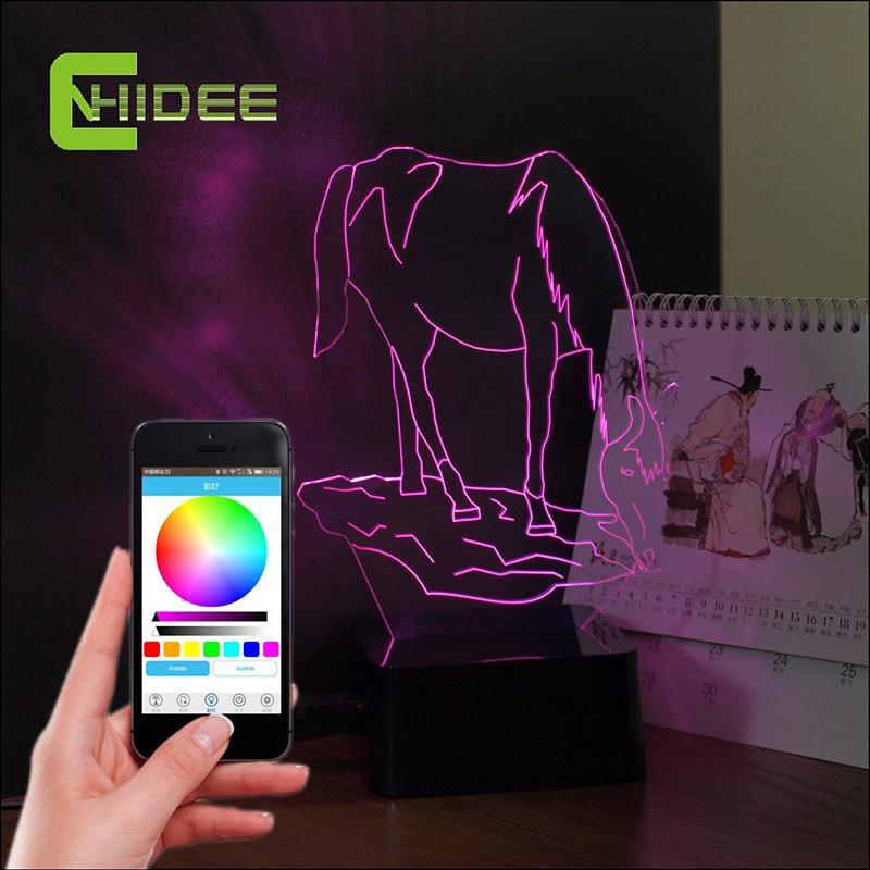 Horse USB Bluetooth Speaker Led 3D Music Lamp for Baby Bedroom Crystal Sleeping Night Lampara as Art Decor Party Nightlights