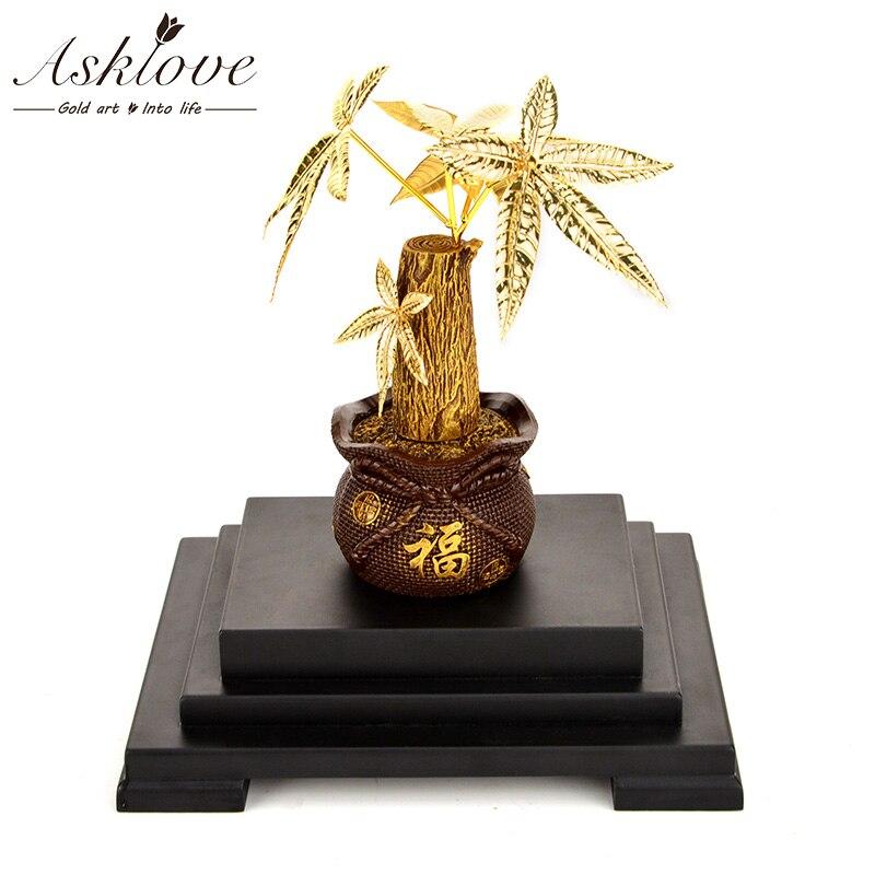 Asklove Feng shui Fortune arbre or bonsaï ornement 24k feuille d'or ornements argent arbre cadeaux décor à la maison bureau artisanat