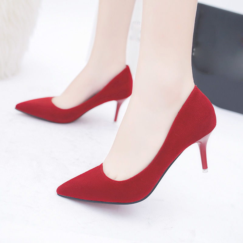 Plus Size OL Office Lady Shoes Faux Suede High Heels Woman Shoes Pointed Toe Dress Shoes Basic Pumps Women Boat Zapatos Mujer(China)