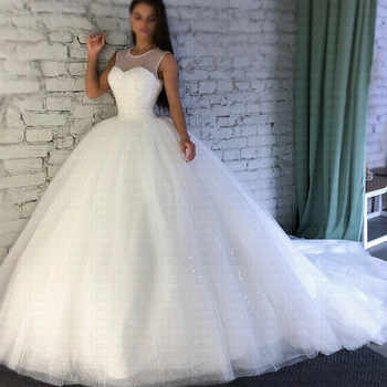 2019 Sparkling Robe De Mariee Sheer Jewel Neckline Ball Gown Wedding Dresses Luxury Arabic Dubai Bridal Gowns - DISCOUNT ITEM  0% OFF All Category
