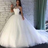 2019 Sparkling Robe De Mariee Sheer Jewel Neckline Ball Gown Wedding Dresses Luxury Arabic Dubai Bridal Gowns