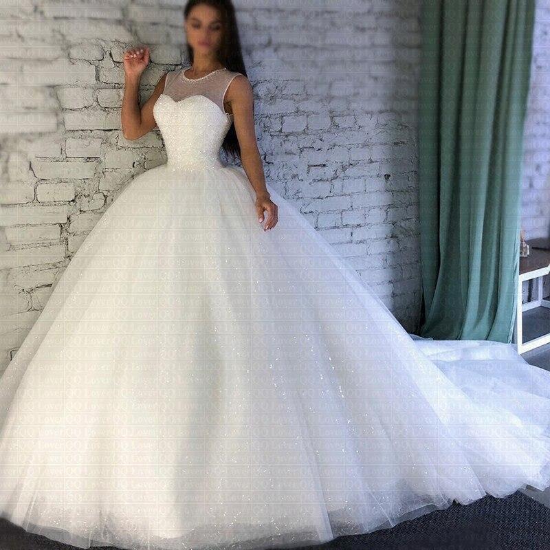 2020 Sparkling Robe De Mariee Sheer Jewel Neckline Ball Gown Wedding Dresses Luxury Arabic Dubai Bridal Gowns