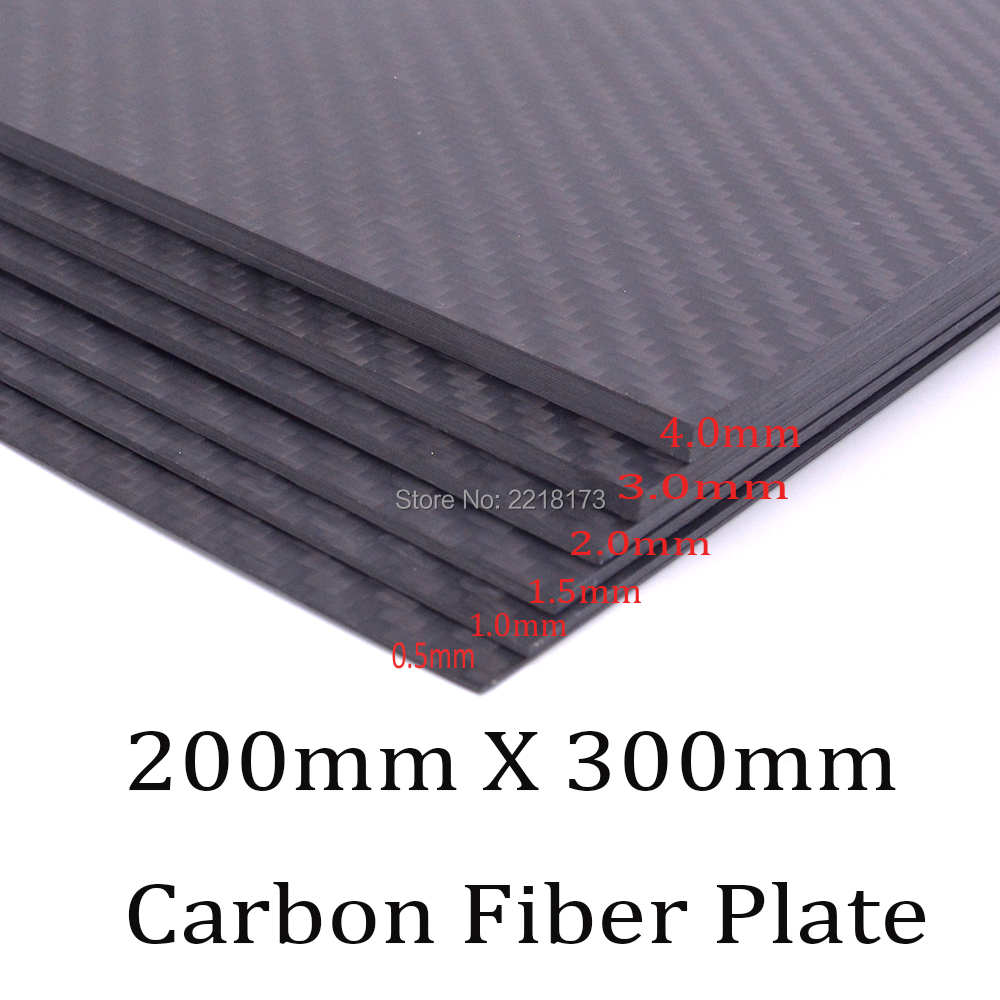200mm X 300mm 0.5mm 1mm 1.5mm 2mm 3mm 4mm thickness Real Carbon Fiber Plate Panel Sheets High Composite Hardness Material for RC 2mm x 200mm x 300mm 100% carbon fiber plate rigid plate car board rc plane plate