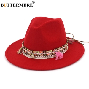 Image 5 - BUTTERMERE נשים פדורה כובע צמר חאקי ג אז כובעי נקבה לאומי מזדמן גדול אפס מקום בציר סתיו קלאסי הרגיש כובע וכובע 2020