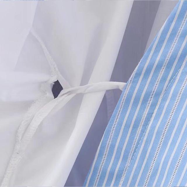 2017 summer autumn Shirt dress women tunic long sleeves  V-neck mini strap light blue white work office dress off shoulder belt