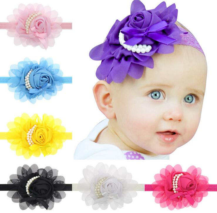 Baby pearl flower hair band Cloth Lovely Rhinestone Unusual Angel Baby  Pearl Flower Hairband Headband baby care accessories cefad9b05cc